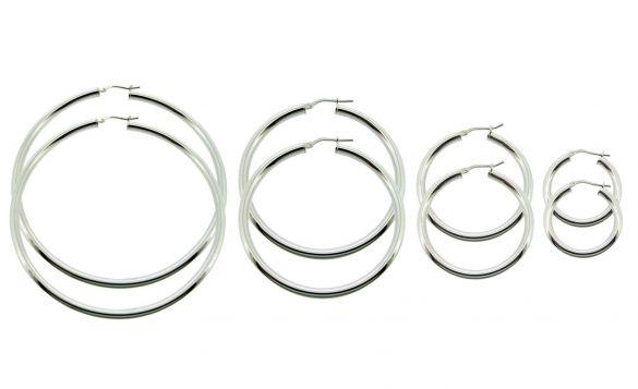 Sterling Silver 3mm Hoop Sleeper Earrings
