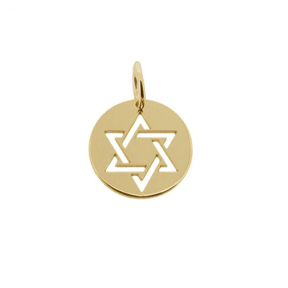 9ct Yellow Gold Star Of David Disc Pendant
