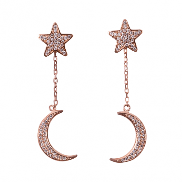 Rose Gold Plated Star & Moon Earrings
