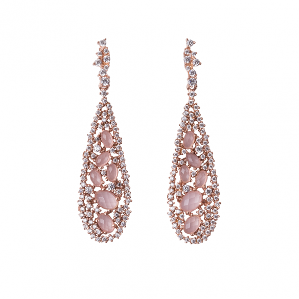 Rose Gold Plated Teardrop Earrings With White CZ & Pink Stones