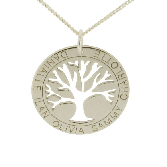 9ct White Gold Tree of Life Disc Family Necklace