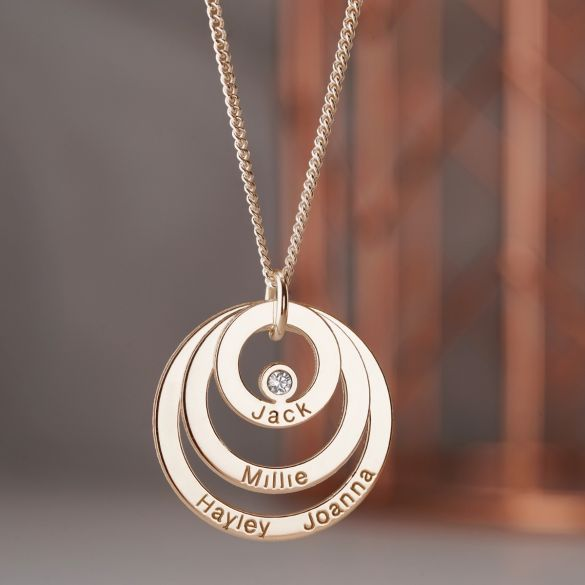 9ct Rose Gold Triple Disc Personalised Family Necklace With Diamond or Crystal