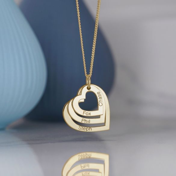 9ct Yellow Gold Triple Heart Personalised Family Necklace