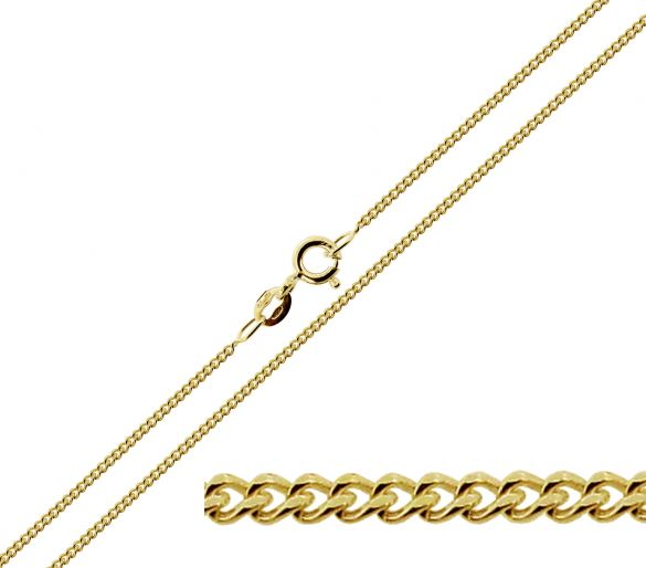 Solid Yellow Gold 1.3mm Diamond Cut Curb Chain