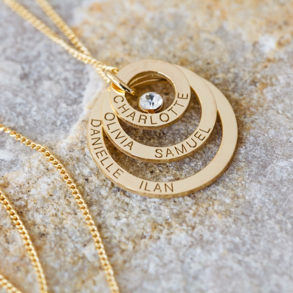 9ct Yellow Gold Triple Disc Personalised Family Necklace With Crystal