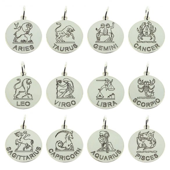 Sterling Silver 20mm Round Zodiac Pendant With Optional Chain