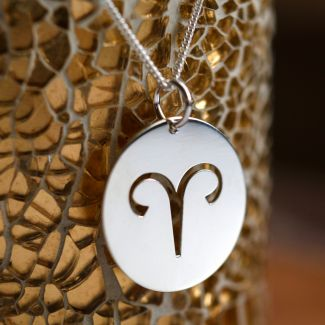 Sterling Silver 15mm Round Zodiac Pendant With Optional Chain