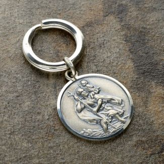 Antique Finish Sterling Silver 27mm St Christopher Keyring With Travellers Prayer and Optional Engraving