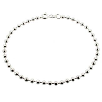 Sterling Silver 3mm Bead Anklet