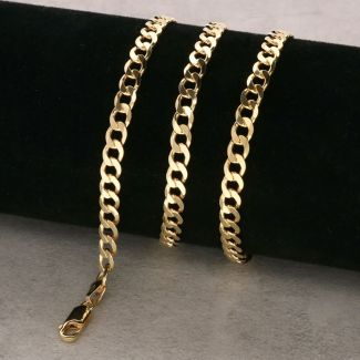 Yellow Gold Plated 5.2mm Diamond Cut Curb Chain
