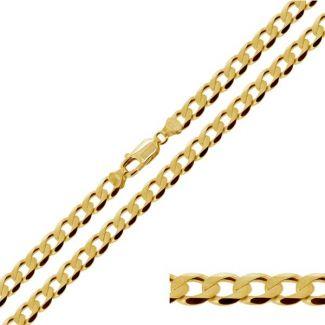 Yellow Gold Plated 5.2mm Diamond Cut Curb Chain