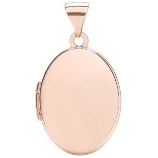 Solid Rose Gold Large Oval Locket & Optional Back Engraving & Chain