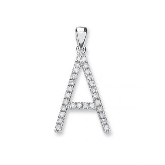 9ct Solid White Gold Initial Pendant Set With Diamonds