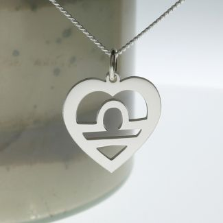 Sterling Silver Star Sign Heart Pendant