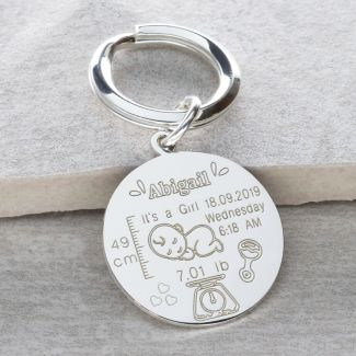 Sterling Silver New Born Baby Keyring With Optional Back Engraving