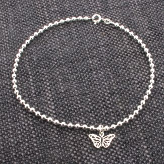 Sterling Silver Charm Bracelet With Butterfly Charm