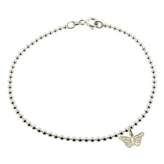 Sterling Silver Bead Ball Anklet With Butterfly Charm