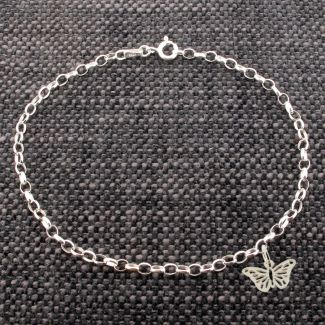 Sterling Silver Belcher AnkletWith Butterfly Charm