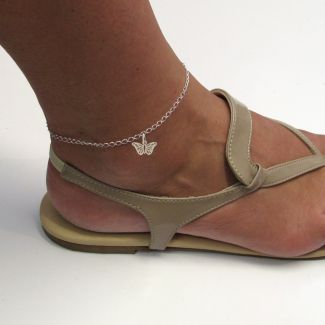 Sterling Silver Curb Anklet  With Butterfly Charm On Foot