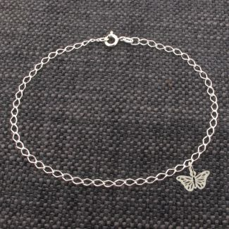 Sterling Silver Curb AnkletWith Butterfly Charm