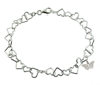 Sterling Silver Light Heart Charm Bracelet With Butterfly Charm