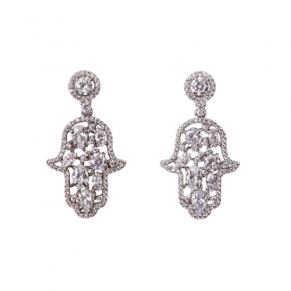 Sterling Silver Hamsa Earrings With White CZ Stones