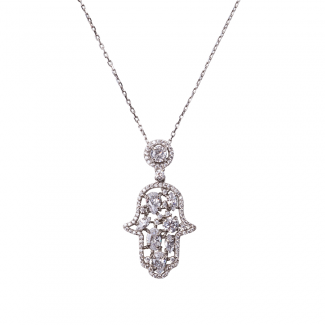 Sterling Silver Cabouchon Hamsa Pendant With White CZ Stones