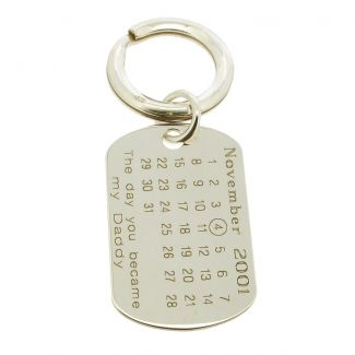 Sterling Silver Special Date Daddy Keyring With Optional Engraving