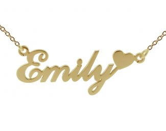 9ct Yellow Gold Plated Carrie Style Personalised Name Necklace with Heart