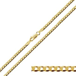 Yellow Gold Plated 3.2mm Diamond Cut Curb Chain