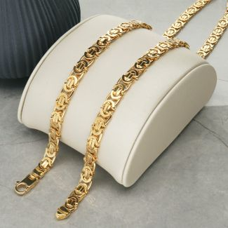 Solid Yellow Gold 5.8mm Flat Byzantine Chain