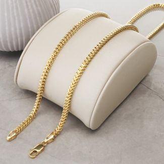 Solid Yellow Gold 2.9mm Hollow Franco Chain