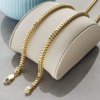 Solid Yellow Gold 3.5mm Hollow Franco Chain