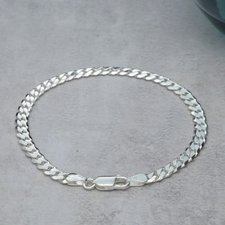 Sterling Silver 4.5mm Gents Curb Bracelet