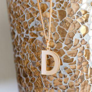 9ct Rose Gold Block Initial Pendant