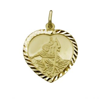 9ct Yellow Gold Plated Diamond Cut Heart St Christopher Pendant