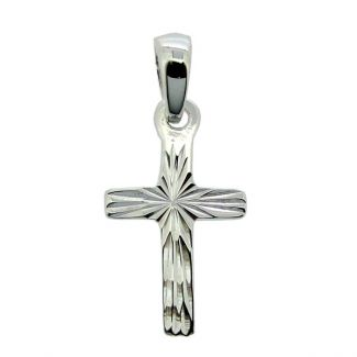 Sterling Silver Small Diamond Cut Cross Pendant