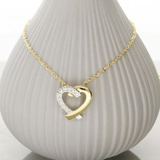 9ct Yellow Gold Diamond Set Heart Pendant & Chain
