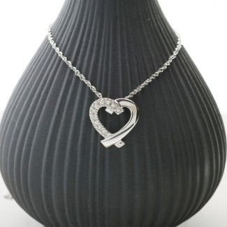 9ct White Gold Diamond Set Heart Pendant & Chain