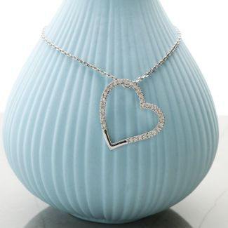 9ct White Gold 0.12ct Diamond Set Heart Necklace