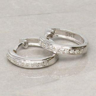 9ct White Gold Diamond Set Hoop Earrings