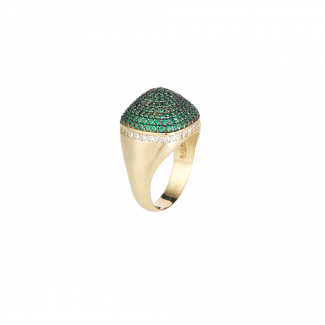 Yellow Gold Plated Dome Cocktail Ring With Green & White Pave CZ Stones