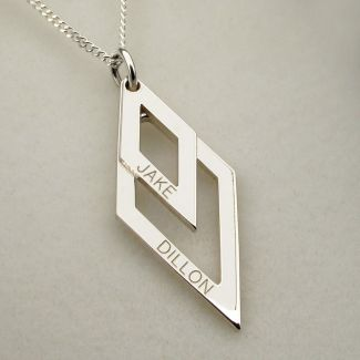 Sterling Silver Engraved Double Diamond Pendant Necklace