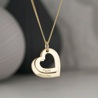 9ct  Yellow Gold Personalised Two Hearts Necklace