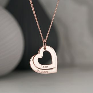 9ct  Rose Gold Plated Personalised Two Hearts Necklace