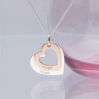 9ct Gold Plated Personalised Hearts Necklace