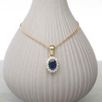 9ct Yellow Gold & Diamond Cluster Set Oval Sapphire Pendant With Optional Chain