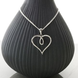 9ct White Gold Diamond Set Heart Pendant & Optional Chain