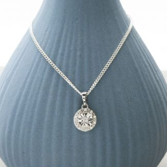 Round Diamond Pendant Set In 9ct White Gold & Optional Chain