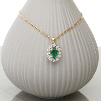 9ct Yellow Gold & Diamond Cluster Set Oval Emerald Pendant With Optional Chain